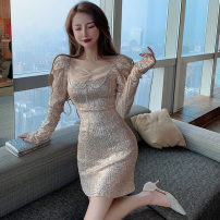 Dress Spring 2021 Apricot, white, black S, M Short skirt singleton  Long sleeves commute High waist Solid color zipper routine Type H Korean version Sequins . 51% (inclusive) - 70% (inclusive) other cotton