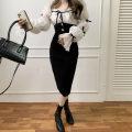 Dress Spring 2021 black S,M,L Mid length dress singleton  Long sleeves commute square neck High waist zipper One pace skirt puff sleeve Type H Splicing .