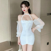 Dress Autumn 2020 White, black S,M,L Short skirt singleton  Long sleeves commute One word collar High waist Solid color Socket other bishop sleeve Others Type H Korean version Frenulum . 91% (inclusive) - 95% (inclusive) brocade cotton