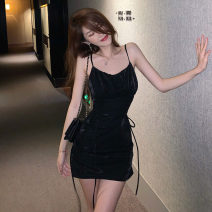 Dress Summer 2021 black S,M,L Short skirt singleton  Sleeveless commute High waist Solid color Socket camisole Type H Frenulum . polyester fiber