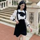 Dress Autumn 2020 Pink, black S,M,L Short skirt singleton  Long sleeves commute Doll Collar High waist zipper A-line skirt bishop sleeve Others Type A Korean version bow . 31% (inclusive) - 50% (inclusive) polyester fiber
