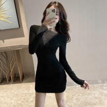 Dress Spring 2020 black S,M,L Short skirt singleton  Long sleeves commute middle-waisted Solid color Socket Pencil skirt routine Others 18-24 years old Type H Korean version Splicing . 31% (inclusive) - 50% (inclusive) brocade cotton