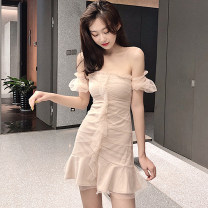 Dress Summer of 2019 Apricot, black S, M Short skirt singleton  Short sleeve Sweet One word collar middle-waisted Solid color zipper Ruffle Skirt puff sleeve Breast wrapping 18-24 years old Type H Other / other Lotus leaf edge . princess