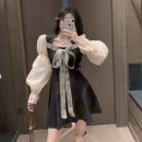 Dress Spring 2021 Picture color S,M,L Short skirt singleton  Long sleeves commute square neck High waist A-line skirt 18-24 years old Type A Korean version