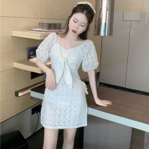 Dress Summer 2021 White s, white M Average size Short skirt singleton  Short sleeve commute High waist Solid color zipper puff sleeve Type A Korean version . 31% (inclusive) - 50% (inclusive) polyester fiber