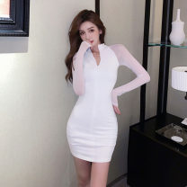 Dress Spring 2021 White, black S,M,L Short skirt singleton  Long sleeves commute stand collar High waist Solid color zipper One pace skirt routine Others 18-24 years old Type H Other / other Korean version zipper 51% (inclusive) - 70% (inclusive) brocade polyester fiber