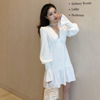Dress Autumn 2020 white S,M,L Short skirt singleton  Long sleeves commute V-neck High waist Solid color zipper Ruffle Skirt bishop sleeve Others Type A Lotus leaf edge .