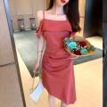 Dress Summer 2020 Deep pink S,M,L Middle-skirt singleton  commute One word collar High waist Solid color zipper Irregular skirt camisole Type H Korean version .