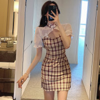 Dress Summer 2021 Picture color S,M,L Short skirt singleton  Short sleeve commute lattice zipper Others Type H Retro . other