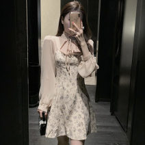 Dress Autumn 2020 Picture color S, M Short skirt singleton  Long sleeves commute High waist Decor zipper A-line skirt bishop sleeve Others Type A Lace up, printed .