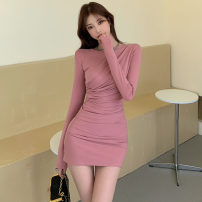 Dress Spring 2021 Black, pink Average size Short skirt singleton  Long sleeves commute Crew neck High waist Solid color Socket routine Type H .
