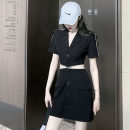 Dress Summer 2020 black S, M Short skirt singleton  Short sleeve commute tailored collar High waist Solid color zipper other routine Others Type H Korean version Cut out, zipper