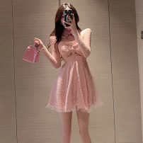 Dress Autumn 2020 White, pink S, M Short skirt singleton  Long sleeves commute other High waist Solid color zipper Big swing routine Others Type A Korean version Lace .