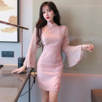 Dress Autumn of 2019 S,M,L Short skirt singleton  Long sleeves commute stand collar High waist Solid color zipper Pencil skirt pagoda sleeve Others 18-24 years old Type H Other / other Retro . 31% (inclusive) - 50% (inclusive) other