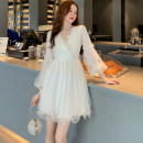 Dress Autumn of 2019 white S,M,L Short skirt singleton  Long sleeves Sweet V-neck High waist Solid color Socket Princess Dress puff sleeve Others 18-24 years old Type X Other / other Lotus leaf edge . 81% (inclusive) - 90% (inclusive) polyester fiber princess