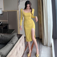 Dress Autumn 2020 Purple, yellow, black Average size Middle-skirt singleton  Long sleeves commute Crew neck High waist Solid color Socket One pace skirt routine Others Type H Korean version . 31% (inclusive) - 50% (inclusive) nylon
