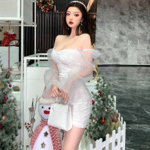 Dress Spring 2020 white Average size Short skirt singleton  Long sleeves commute One word collar middle-waisted Solid color Socket Pencil skirt bishop sleeve Breast wrapping 18-24 years old Type H Korean version