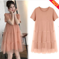 Dress Other / other S,M,L,XL,XXL,XXXL Versatile Short sleeve Medium length summer Crew neck Solid color Pure cotton (95% and above)