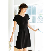 Dress Summer 2021 Black, blue S,M,L,XL Mid length dress singleton  Short sleeve commute V-neck Loose waist Solid color zipper other other Others Type X tjlanle Britain LYQ3071-0410-PP More than 95% other polyester fiber