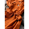 Dress Spring 2021 Bean green / with belt, caramel / with belt M,L,XL,2XL Mid length dress singleton  Short sleeve commute tailored collar Solid color Three buttons raglan sleeve Type X Magpie past Ol style LYQ3794-0403-HH-XF More than 95% silk