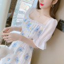 Dress Summer 2021 Picture color S,M,L,XL Mid length dress singleton  Short sleeve commute square neck High waist Broken flowers Socket A-line skirt pagoda sleeve Others 25-29 years old Type A Korean version Ruffle, fold, open back, lace up, stitching, three-dimensional decoration, printing