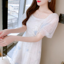 Dress Summer 2021 Picture color S,M,L,XL Mid length dress singleton  Short sleeve commute square neck High waist Solid color Socket A-line skirt puff sleeve Others 25-29 years old Type A Korean version Ruffles, ruffles, folds, stitching, mesh, lace, printing More than 95%
