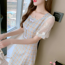 Dress Summer 2021 Picture color S,M,L,XL Mid length dress singleton  Short sleeve commute square neck High waist lattice Socket A-line skirt puff sleeve Others 25-29 years old Type A Korean version Embroidery, pleating, stitching, buttons, lace More than 95%
