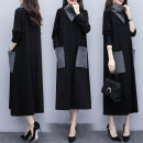 Dress Autumn 2020 Thicken picture color M,L,XL,2XL,3XL,4XL longuette singleton  Long sleeves commute High collar Loose waist Solid color Socket routine Others Korean version Splicing other