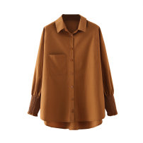 shirt Picture color S,M,L Spring 2021 other 71% (inclusive) - 80% (inclusive) Long sleeves street Regular Polo collar routine Solid color 25-29 years old Straight cylinder Button Europe and America