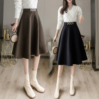 skirt Spring 2021 S,M,L,XL,2XL Black, brown, grey blue Mid length dress commute High waist A-line skirt Solid color Type A 18-24 years old WJ More than 95% Wool polyester fiber zipper Korean version