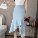 skirt Summer 2021 S,M,L,XL Off white, blue, black Mid length dress Versatile High waist Irregular Solid color Type A 18-24 years old ma More than 95% Chiffon