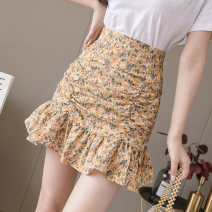 skirt Summer 2021 S,M,L,XL Pink flowers, purple flowers, yellow flowers, green flowers Short skirt commute High waist Ruffle Skirt Decor Type A 18-24 years old HJB 51% (inclusive) - 70% (inclusive) other Korean version