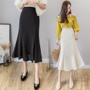 skirt Spring 2021 S,M,L,XL Apricot, black longuette commute High waist A-line skirt Solid color Type A 18-24 years old cH More than 95% Chiffon polyester fiber zipper Korean version