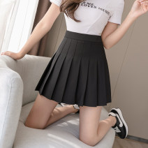 skirt Spring 2021 S,M,L,XL,2XL Black, white, gray, pink Short skirt commute High waist A-line skirt Solid color Type A 18-24 years old WJ More than 95% Korean version