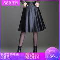 skirt Autumn 2020 M-2 feet, L-2 feet 1, xl-2 feet 2, xxl-2 feet 3, xxxl-2 feet 4, 4xl-2 feet 5 black Middle-skirt Versatile High waist A-line skirt Solid color M-BMH1061 PU Fold, button, zipper