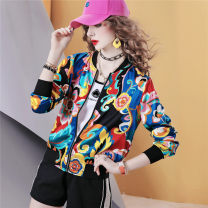 short coat Summer 2021 S,M,L,XL Color spot (delivery within 48 hours), color order Long sleeves routine routine singleton  easy commute routine stand collar zipper Abstract pattern 40-49 years old maialika 71% (inclusive) - 80% (inclusive) printing other polyester fiber