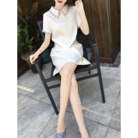 Dress Summer 2021 Black, beige, pink S,M,L,XL Short skirt singleton  Short sleeve commute Doll Collar Loose waist Solid color zipper A-line skirt other Others 25-29 years old Type A lady Nail bead M9XL0805
