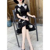 Dress Summer 2021 black S,M,L,XL,2XL Mid length dress singleton  Short sleeve commute Doll Collar middle-waisted Solid color zipper other routine Others 30-34 years old Type X MEXCOCO lady Embroidery, stitching, beading, buttons M1XL2934 81% (inclusive) - 90% (inclusive) other