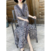 Dress Summer 2021 Black, blue S,M,L,XL,2XL longuette singleton  elbow sleeve commute V-neck High waist Leopard Print zipper Big swing other Others 30-34 years old Type X MEXCOCO lady printing M0XL2733 More than 95% Chiffon