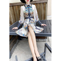 Dress Spring 2021 Off white, black S,M,L,XL,2XL Middle-skirt singleton  Long sleeves commute Doll Collar middle-waisted Decor zipper A-line skirt bishop sleeve Others 30-34 years old Type A MEXCOCO lady Lace up, printed 81% (inclusive) - 90% (inclusive)