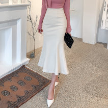skirt Spring 2021 XS,S,M,L,XL,2XL Mid length dress commute High waist skirt Solid color Type O 25-29 years old 81% (inclusive) - 90% (inclusive) brocade nylon Zipper, stitching Korean version 401g / m ^ 2 (inclusive) - 500g / m ^ 2 (inclusive)