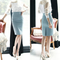 skirt Spring 2021 XS,S,M,L,XL,2XL White, black, light blue, pink, light yellow Mid length dress commute High waist skirt Solid color Type H Js-815 skirt 91% (inclusive) - 95% (inclusive) brocade nylon zipper Korean version