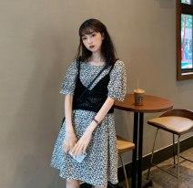 Dress Summer 2020 Average size Mid length dress Short sleeve High waist other other