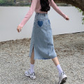 skirt Spring 2021 S,M,L Light blue, dark blue Mid length dress commute High waist A-line skirt 18-24 years old 71% (inclusive) - 80% (inclusive) other cotton Korean version