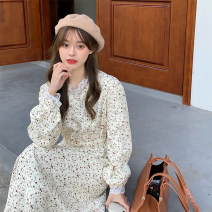 Dress Spring 2021 Apricot, black Average size longuette singleton  Long sleeves commute V-neck middle-waisted Decor Socket Big swing routine Others 18-24 years old Type A Korean version 7190# 51% (inclusive) - 70% (inclusive) corduroy polyester fiber
