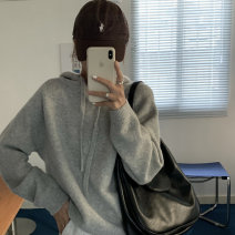sweater Winter 2020 Average size Gray, light apricot, Navy, chestnut brown Long sleeves Socket singleton  Super short other 95% and above Hood Thin money commute routine Solid color Straight cylinder