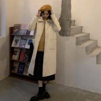 woolen coat Autumn 2020 Average size Black, white, apricot polyester 31% (inclusive) - 50% (inclusive) have more cash than can be accounted for Long sleeves commute Single breasted routine Doll Collar Solid color Straight cylinder Korean version Other / other Splicing Solid color polyester fiber