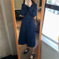 Dress Winter 2020 navy blue Average size longuette Long sleeves commute Korean version