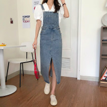 Dress Summer 2020 wathet S,M,L,XL Miniskirt singleton  Sleeveless commute High waist straps 18-24 years old Type H Korean version 81% (inclusive) - 90% (inclusive) Denim