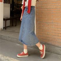 skirt Summer 2021 S,M,L,XL Retro Blue, black grey Mid length dress Versatile High waist A-line skirt Solid color Type A 18-24 years old 71% (inclusive) - 80% (inclusive) Denim Button